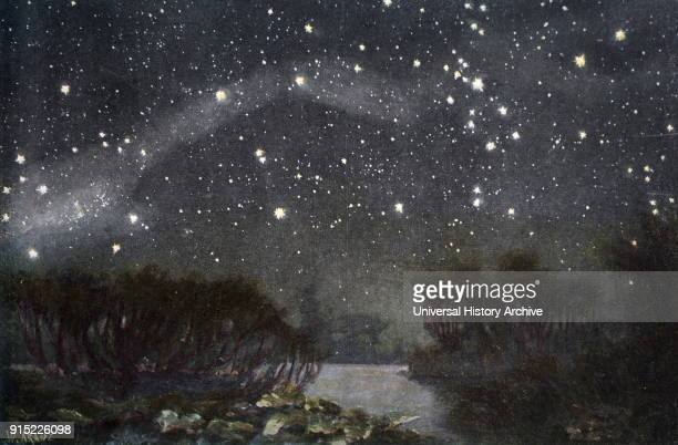 Illustration depicting the Southern Cross in the night sky Dated 19th century