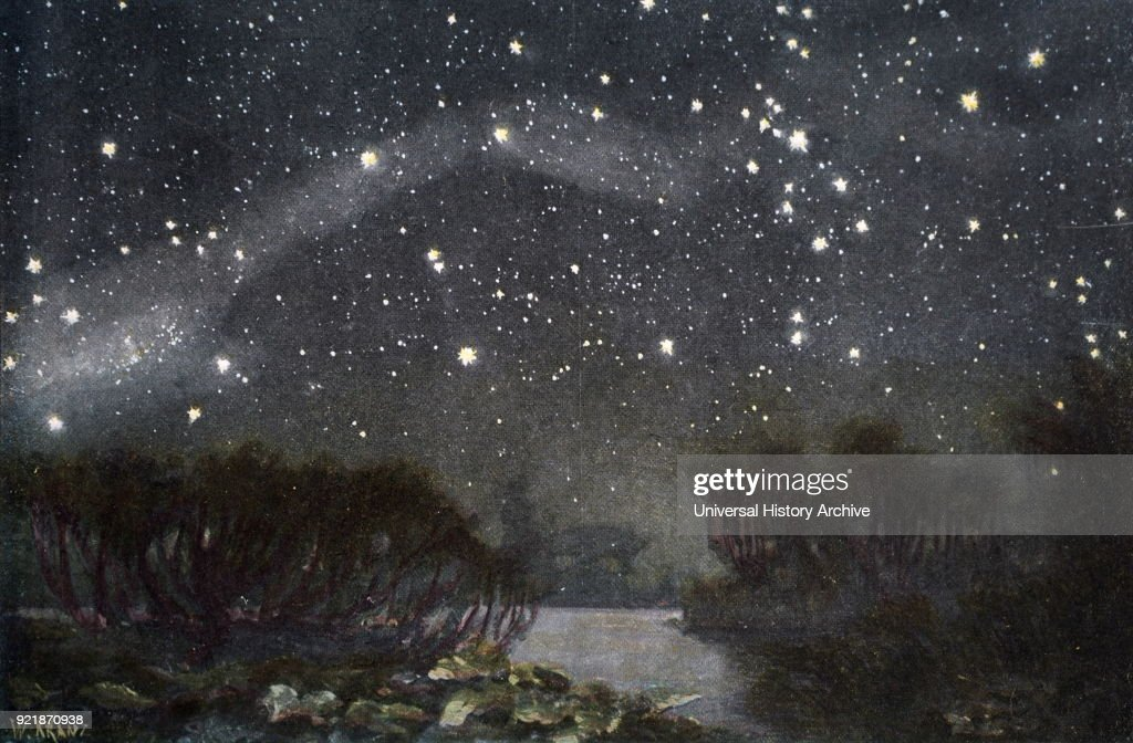 Illustration depicting the Southern Cross in the night sky. Dated 19th century.