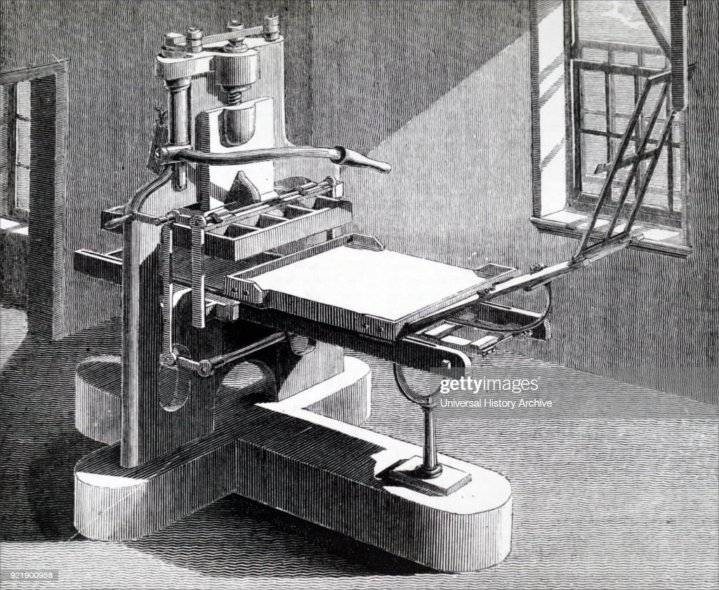Illustration depicting the Stanhope Press: Improved form of common printing press devised by Charles, third Earl Stanhope (1753-1816) which was adopted almost universally. Dated 19th century.
