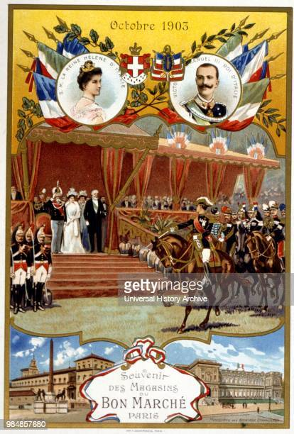 Illustration depicting the state visit of the King of Spain to France in October 1903