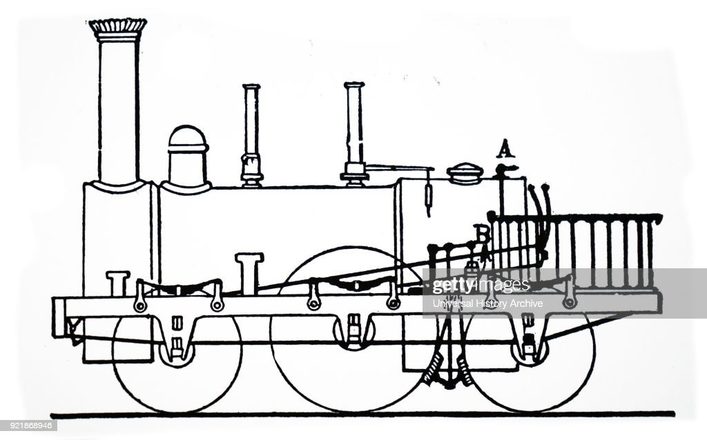 Illustration depicting the steam brake operating on the driving wheels - patented by Robert Stephenson. Robert Stephenson (1803-1859) an early railway and civil engineer. Dated 19th century.
