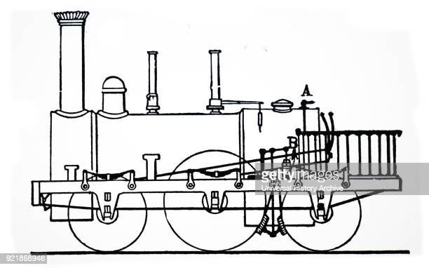 Illustration depicting the steam brake operating on the driving wheels patented by Robert Stephenson Robert Stephenson an early railway and civil...
