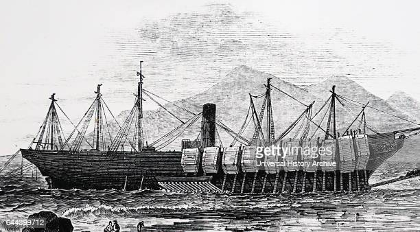 Illustration depicting the steamer 'The Great Britain' the first screw steamer to cross the Atlantic ashore in Dundrum Bay Dated 19th Century