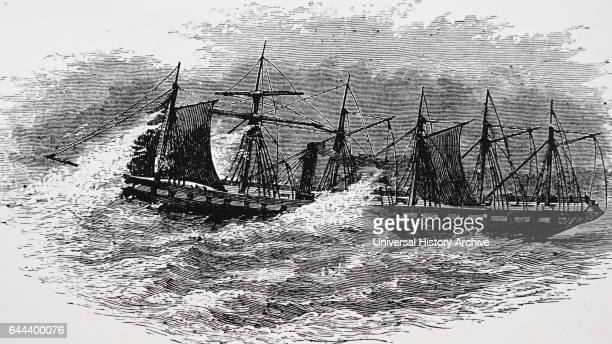 Illustration depicting the steamer 'The Great Britain' the first screw steamer to cross the Atlantic Dated 19th Century