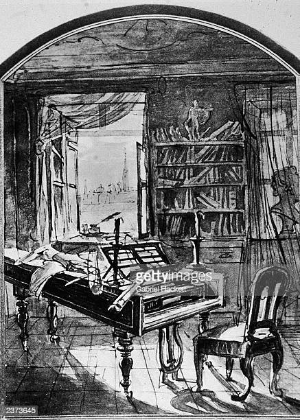 Illustration depicting the study of German composer Ludwig Van Beethoven with a piano chair and bookshelves Vienna Austria early 19th Century
