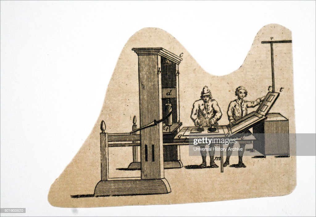 Illustration depicting the type of printing press used in the later part of the 18th century. Dated 18th century.