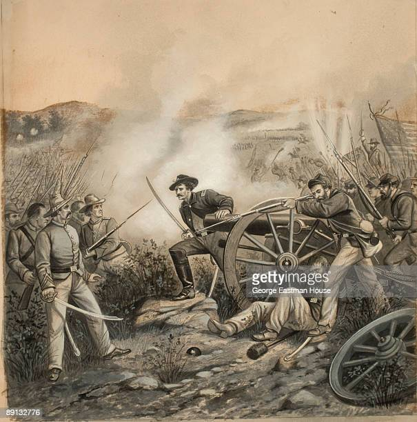 Illustration depicting the Union army overrunning a Confederate battery a scene from an unidentified battle in the American Civil War ca1865 Drawing...