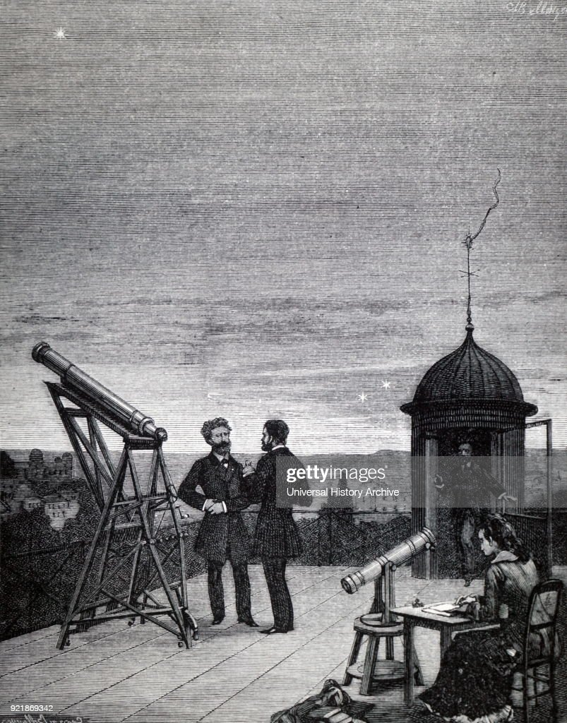Illustration depicting the use of a small refractor to observe Mercury, Venus and Jupiter from the roof of the Paris Observatory. Dated 19th century.