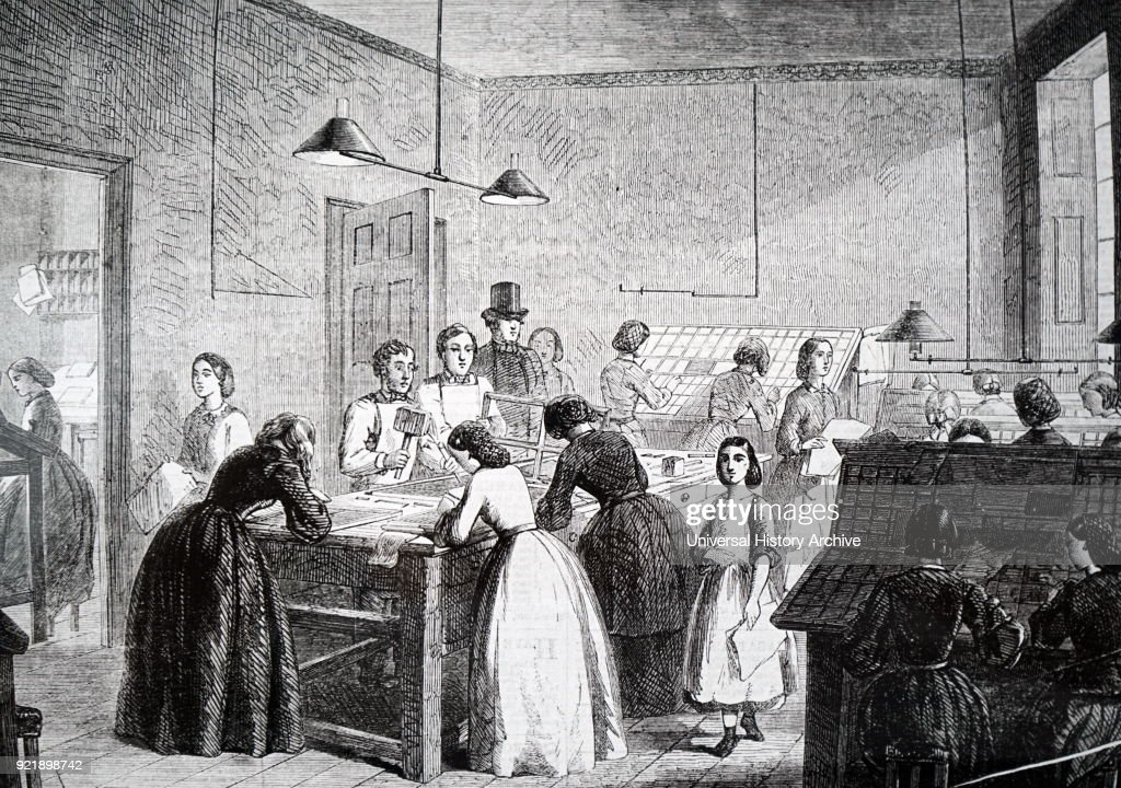 Illustration depicting The Victorian Press, established in 1860 and managed by Emily Faithful, its purpose was to give employment to women and by its example encouraged others to do the same. Dated 19th century.