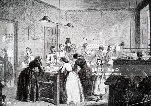 Illustration depicting The Victorian Press established in 1860 and managed by Emily Faithful its purpose was to give employment to women and by its...