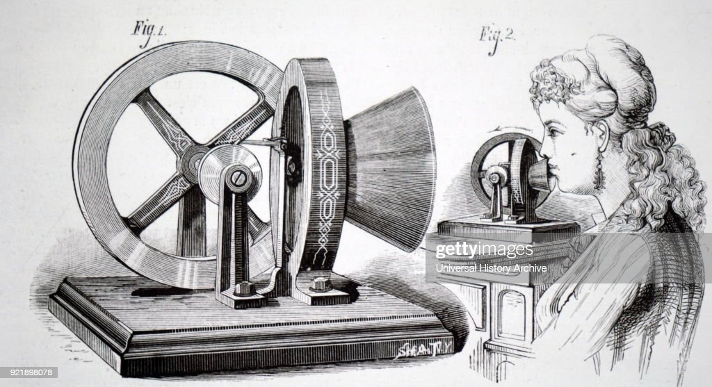 Illustration depicting Thomas Edison's phonometer which used the energy generated by speech to drive a flywheel. Edison claimed the power could be used to drill a hole in a wooden wall, or other small tasks. Thomas Edison (1847-1931)an American inventor and businessman. Dated 19th century.