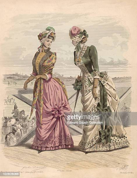 Illustration depicting two women each wearing ornate flowing gowns at Ascot Racecourse in Berkshire England Great Britain 1880 Both women each...