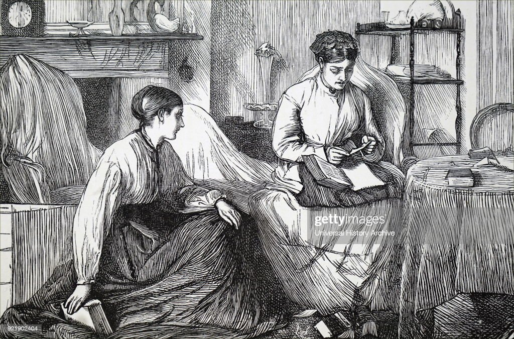 Illustration depicting two women looking through books. Dated 19th century.