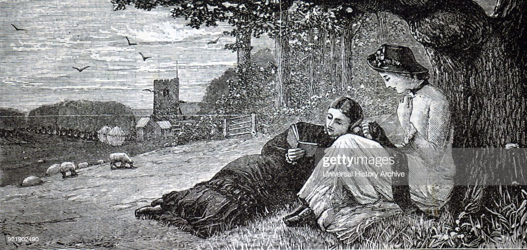Illustration depicting two young women reading their books whilst lying under a tree. Dated 19th century.