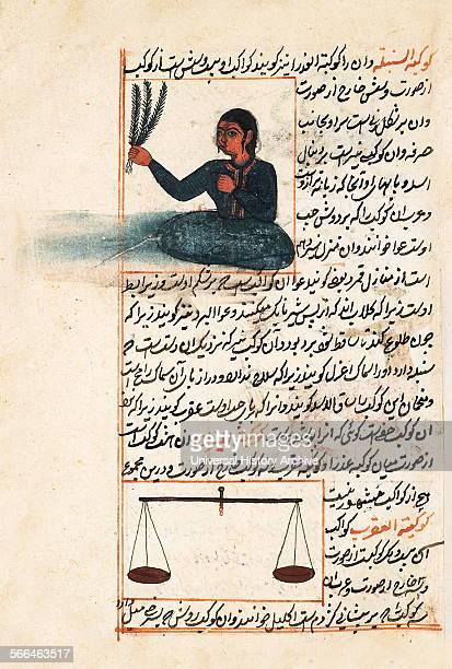Illustration depicting Virgo and Libra from 1538 edition of 'KitabI ajayib almakhluqat va ghara'ib almawjudat' a 12th century Islamic Persian...