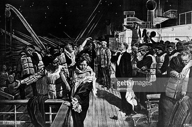 Illustration depicting women and children being loaded into life boats during the great Titanic disaster on April 14, 1912. Detail from an undated...