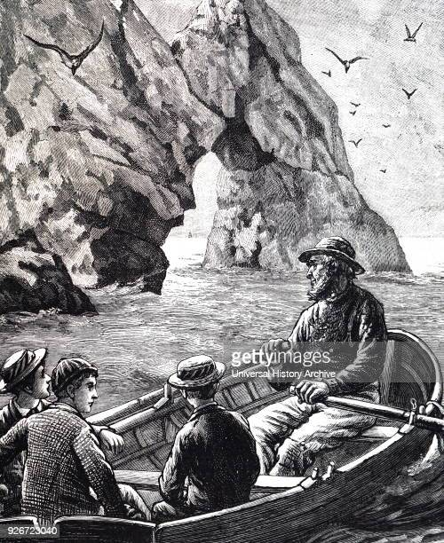Illustration depicting young boys taking a ride on a boat to discover the beauty of the coast The boat is rowed by an older local man Dated 19th...