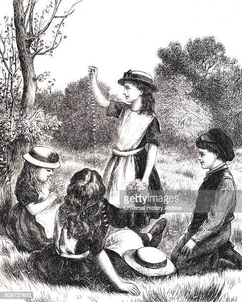 Illustration depicting young girls making daisy chains Dated 19th century