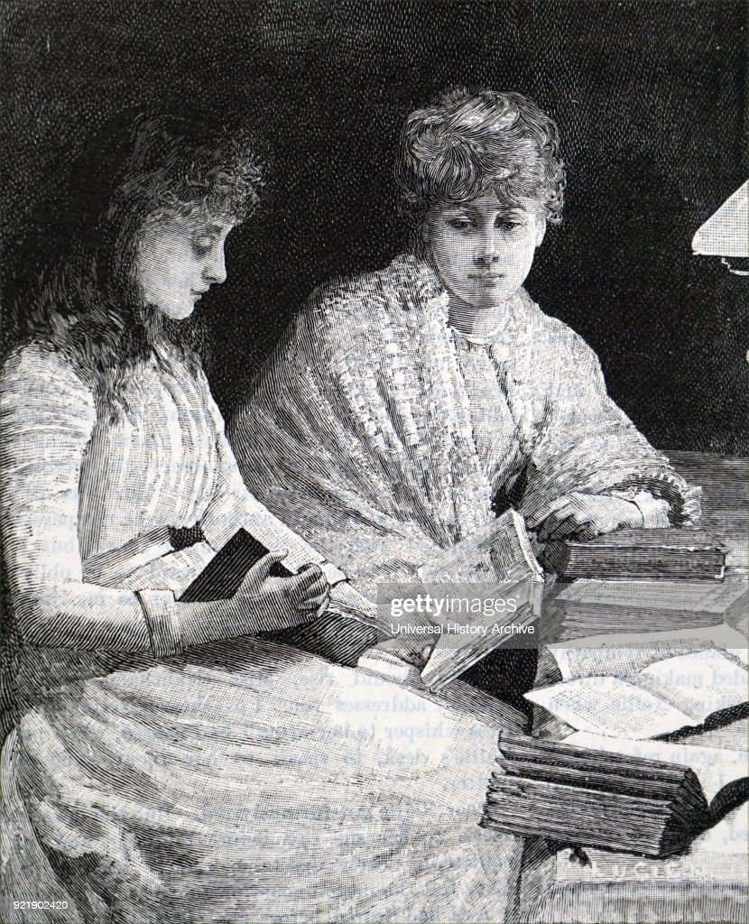 Illustration depicting young ladies spending a quiet afternoon reading. Dated 19th century.