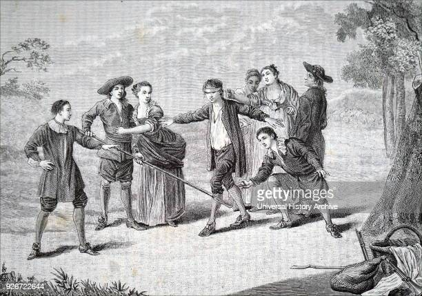 Illustration depicting youths playing Blind Man's Bluff the young man tries to catch the others whilst blindfolded Dated 19th century