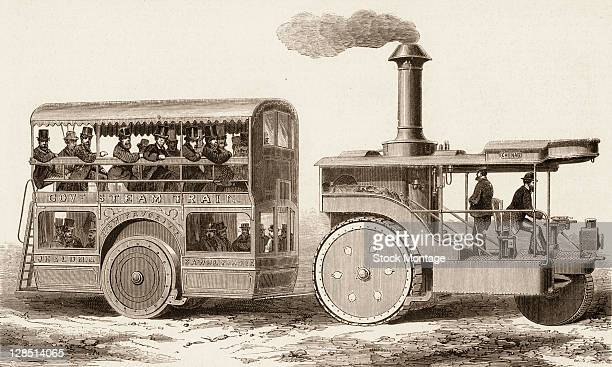 Illustration depicts a doubledecker steamdriven passenger train as it drives along a road England early 1870s