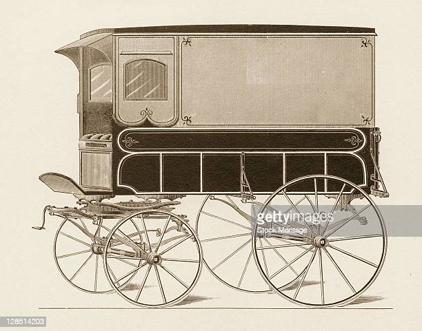 Illustration depicts a enclosed horsedrawn wagon with small glass windows on its sides mid 1880s