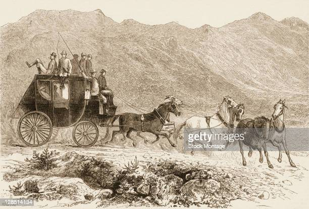 Illustration depicts a passengerfilled stagecoach on a trip between Salt Lake City Utah and Ophir City California 1874