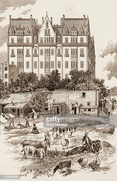 Illustration depicts a row of ramshackle homes with farm animals in the ajoining field which are somewhat overshadowed by the more modern eight or...