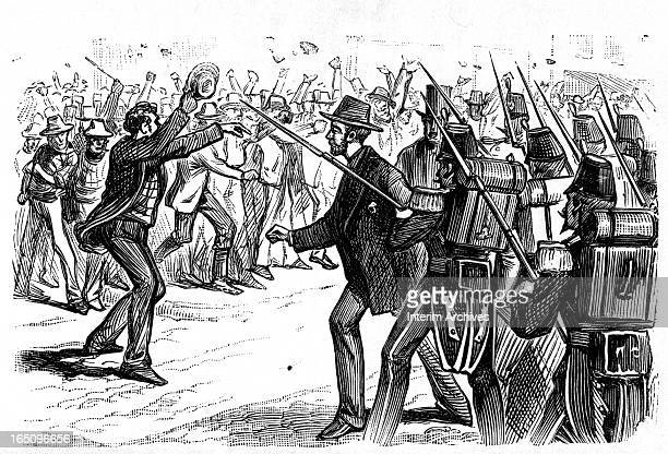 Illustration depicts a scene during the Great Railroad Strike where a rioter is held by troops armed with rifles and bayonets and defended by a rowdy...