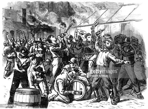 Illustration depicts a scene during the Great Railroad Strike where rioters and drunken strikers distribute stolen whiskey Pittsburgh Pennsylvania...