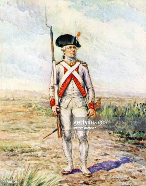 Illustration depicts a soldier in a French military uniform during the Revolutionary War while stationed in New York New York late eighteenth century...