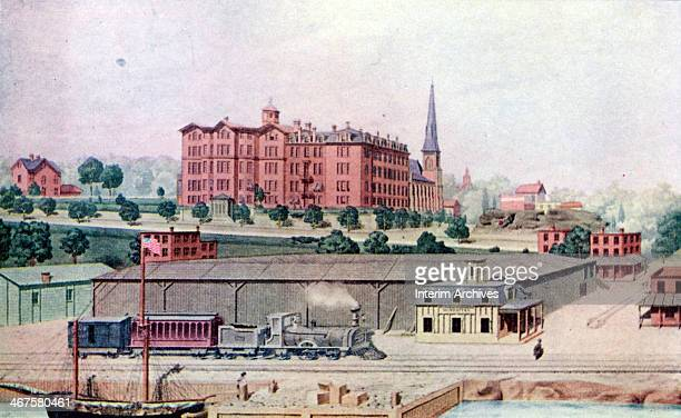 Illustration depicts a view of Manhattan College and Manhattan Station at the college's first location on Canal Street , New York, New York, 1855. A...