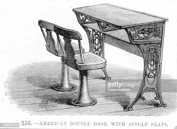 Illustration depicts 'an American double desk with single seats' for students in a classroom eighteenth century