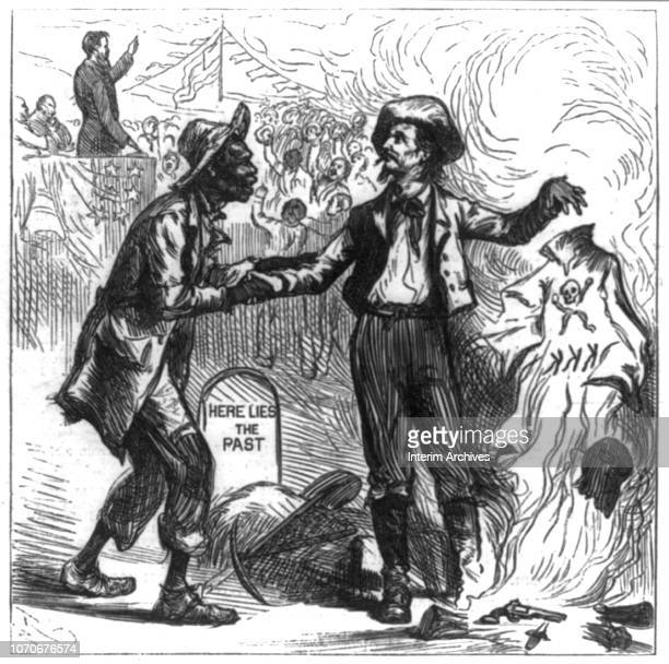 Illustration depicts an emancipated slave as he shakes hands with a man who, with his the other hand, burn a Ku Klux Klan robe behind him, October...