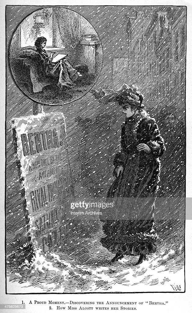 Illustration depicts author Louisa May Alcott as she finds a poster which advertises her pseudonymously written story 'Bertha' (published in the Saturday Evening Gazette), 1856. Illustration was published in late nineteenth century.
