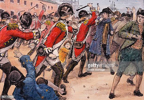 Illustration depicts British soldiers as they clash with an angry crowd during the Boston Massacre Boston Massachusetts March 5 1770