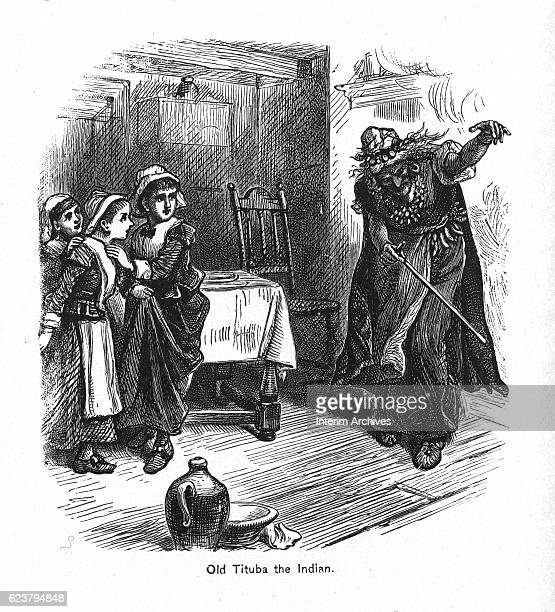 Illustration depicts enslaved Barbadian woman Tituba in a room with three Puritan girls Salem Massachussetts 1690s One of the first women accused of...