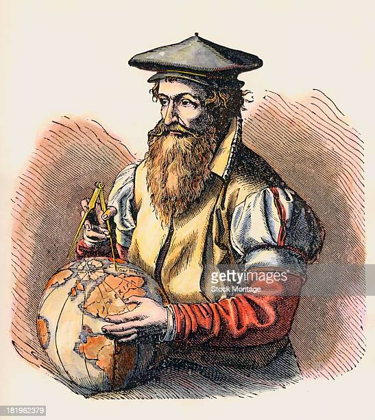 Illustration depicts Flemish cartographer Gerardus Mercator with a globe and compass in his hands He devised a design format for geographic maps now...