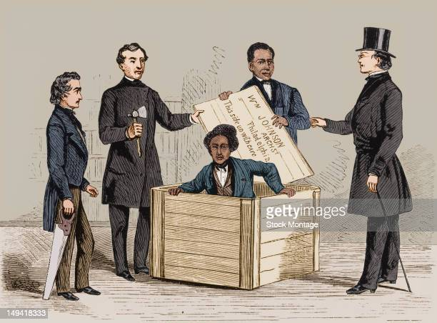 Illustration depicts former slave Henry Brown as he emerges from the box he used to mail himself to freedom Philadelphia Pennsylvania late March 1849...