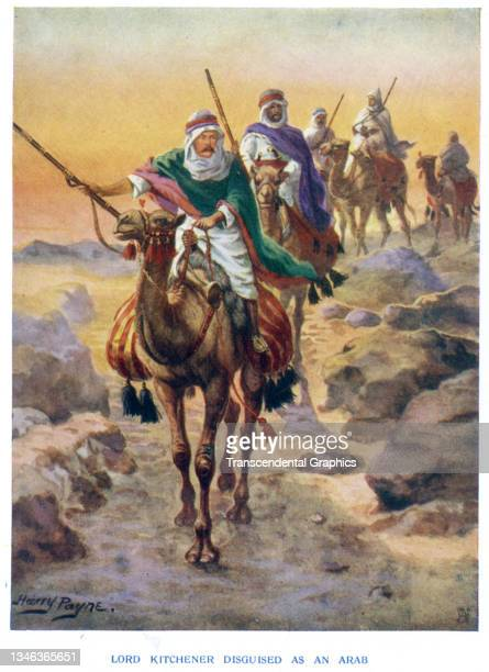 Illustration depicts Lord Kitchener in a robe and keffiyeh as he and others ride on camels, 1918. It appeared in the book the book 'Heroic Deeds of...