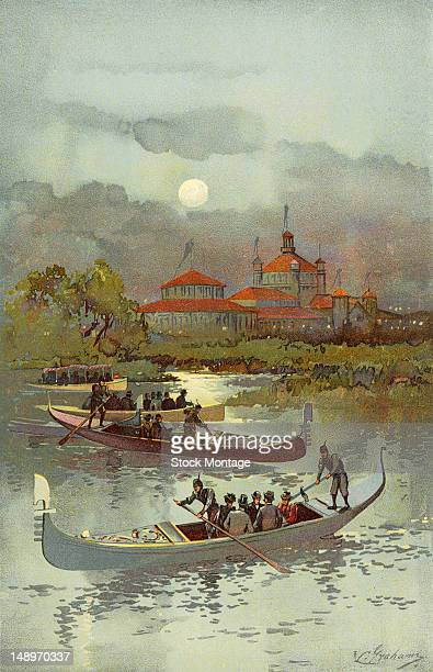 Illustration depicts moonlight as it reflects off a lagoon and illuminates gondolas at the World's Columbian Exposition Chicago Illinois 1893