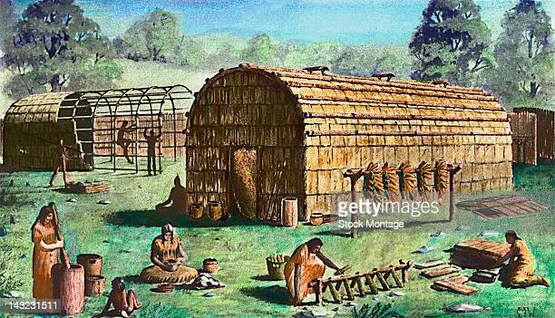 Illustration depicts Native Americans as they work among longhouses at various tasks in an unidentified Iroquois village