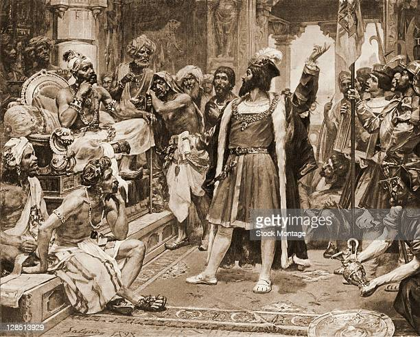 Illustration depicts Portuguese explorer Vasco da Gama as he makes a presentation to the Saamoothiri of Kozhikode and his court upon their arrival...