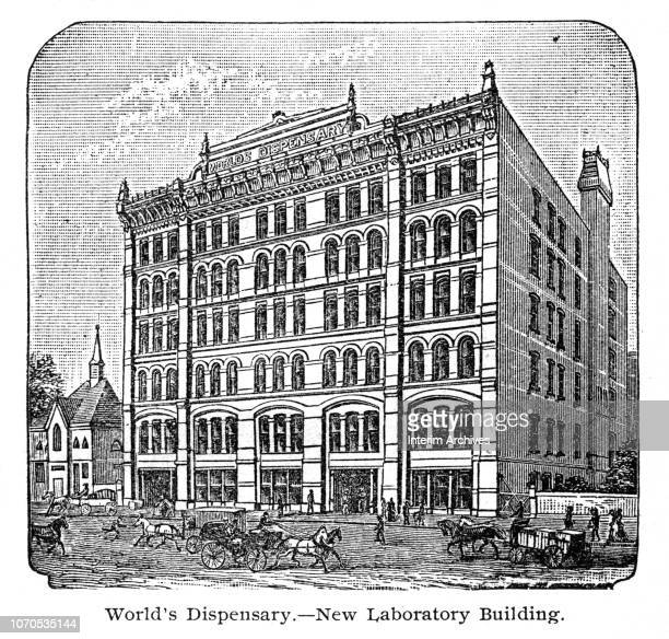 Illustration depicts the exterior of the World's Dispensary the 'New Laboratory' building Buffalo New York 1895 It was previously published in Dr Ray...
