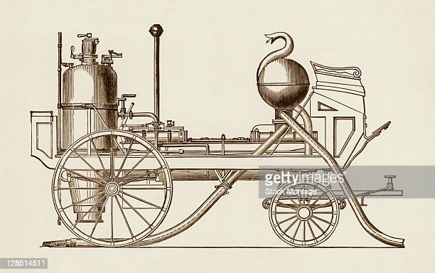 Illustration depicts the first practical steampowered fire engine designed and built by John Braithwaite and John Ericsson England late 1820s