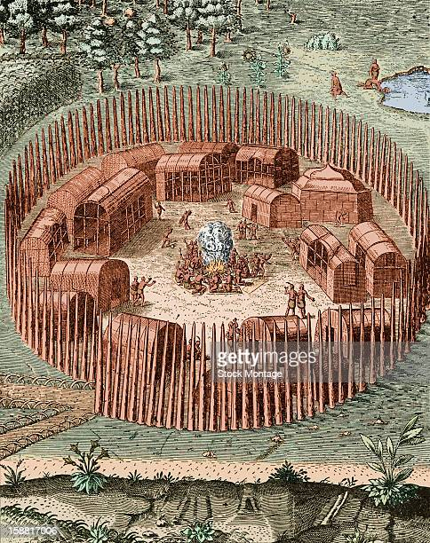 Illustration depicts the Native American village of Pomeiooc with its protective palisades Virginia circa 1585 The original engraving appeared in...