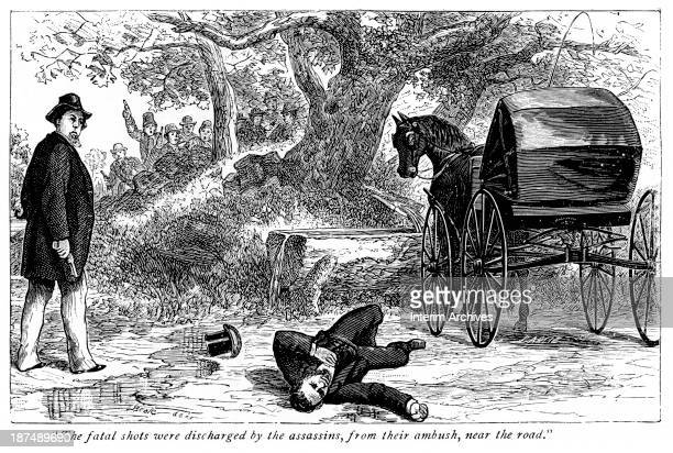 Illustration depicts the scene at the murder of mining superintendent Alexander Rae allegedly through a Molly Maguire ambush as Rae traveled to the...