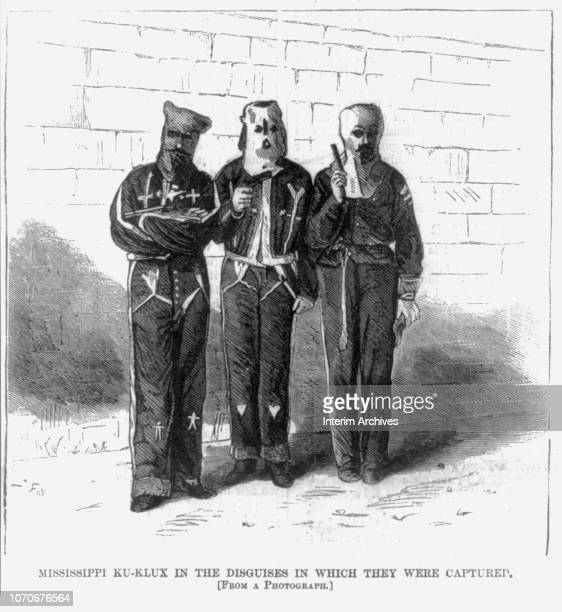 Illustration depicts three members of the Ku Klux Klan 'in the disguises in which they were captured, 1870s.