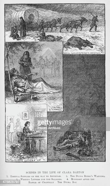 Illustration depicts various scenes from the life of American nurse and founder of American Red Cross Clara Barton late nineteenth century From top...