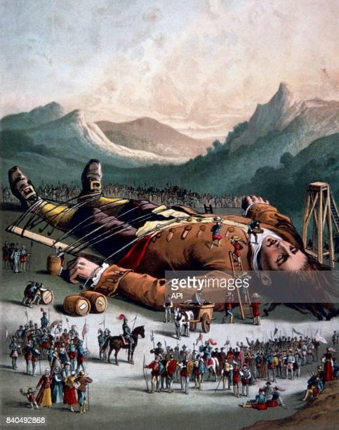 Illustration du livre 'Les Voyages de Gulliver' de Jonathan Swift représentant Lemuel Gulliver attaché par les Lilliputiens